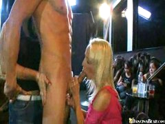 Blonde and allies pampering penis