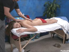 Undressed Samantha seduces the masseur