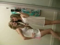 Rilee and Sara receive in nature's garb in the dressing room
