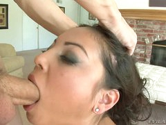 Carnal Adrianna Luna gets her slippery mouth hammered