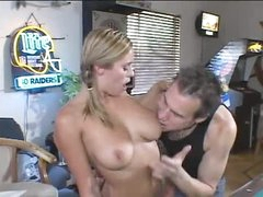 Babe in the pool room sucks his large 10-Pounder