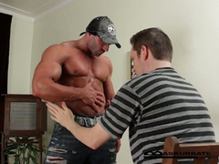Massive muscles stripper max getting worshipped by concupiscent fellow