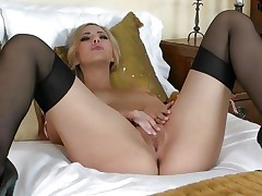 Glamorous Sophia Knight torments her moist soaked pussy