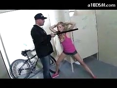 Naughty Blond Girl Getting Chained Cookie Rubbed With Baton Giving Blowjob For The Security Guard In The Public Toilette
