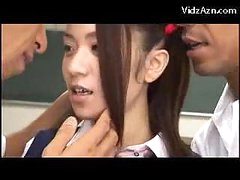 Cute Schoolgirl In Uniform Squirting Getting Her Slit Fingered By 2 Men On The Floor Of The Classroom