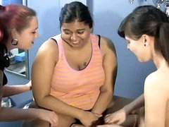 Chunky indian wench getting tickled by 2 hawt lesbos