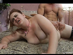 Excited mom lets a muscle fellow hike up her skirt for a from-behind frenzy