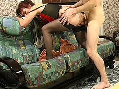 Aged mistress in hawt lingerie teaching a stripped dong-strong fellow to behave