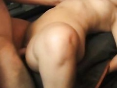 This horny mature pervert wants to try fitting his large obese ramrod in a truly taut muff and ends up fucking some shameless midget slut hard and loud right in the back of his red pickup truck.
