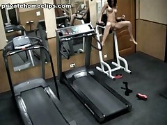 Just look at this perverted brunette hair hair babe going insane in the gym when alone! 1st she's exercising in no thing but nylon pantyhose and then she's stripping it too and widening her kewl legs wide as if gagging for unfathomable penetrations!