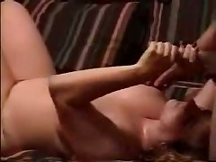 Watch raunchy homemade video with chunky doll jerking off hard rod and petting balls of her spouse until this guy shoots his hot cum on her huge boobs.