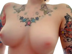 The consummate emo girlfriend featured on this dripped intimate webcam movie scene is wearing nothing but her sexy tattoos while this chick fingers her pussy and arse for her cyber show fans! That chick copulates herself with dildos too!