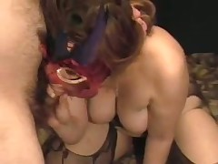 A lady with big scones gets herself off with a toy as I engulf her breasts. She cums loudly then sucks the cum out of my cock swallowing the load. Moaning with glee this sweetheart then rubs my moist drained 10-Pounder on her nipple.