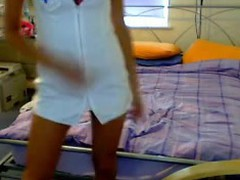 Fans of role playing cam gals will love this next real homemade movie scene of a hawt and long legged blond chick as this chick not fast take off that hawt nurse outfit and fill her slit with a bunch of sex toys!
