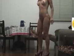Sex goddess with long flowing hair knows how to please her BF visually by getting naked in her heels and showing a little pubic hair line on her cunt. He copulates her hard core on the chair and makes 'em both cum.