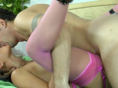 Upskirt honey in pink nylons with a garter belt going for a weenie-ride