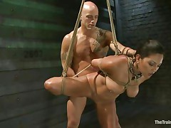 Such a hotty needs a hard fuck and some humiliation and that is exactly what the hairless guy gives helped by his buddy. He copulates her vagina from behind and then grabs her throat so that chick would pay attention on what he says. Seeing her dominated actually makes you thinking if that chick will behave from now on.
