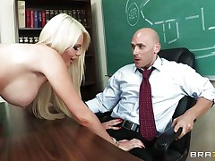 This hawt golden-haired schoolgirl with consummate boobs, long hawt legs and hairless tight cum-hole is masturbating thinking about her teacher. After hours this babe makes her dream a reality and strips in front of this fortunate guy, showing her hawt body, consummate milk cans and gorgeous ass, making him very happy. Do you think this babe will gulp his semen?