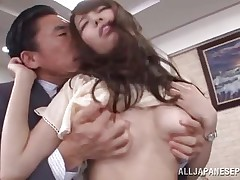 Arisu loves her boss and her job. This hottie does anything in her power to make her employer pleased even if it means to be a total slut. Arisu allows him to grope her lovely bumpers and then take up with the tongue her cookie over those pantyhose. Take a look at her and that cum asking pussy below her panties, that hottie really needs it fucked now.
