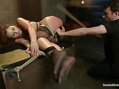 After breaking her self esteem it's time for that sexy ass to be exploited. Kenzie finds out that this babe loves being treated like a worthless wench and when the executor fingers her and spanks those sexy legs this babe begs for more. A large hard schlong enters her tight anus, making Kenzie groan with great lust.