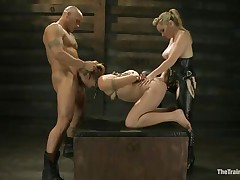 Chastity Lynn is a submissive girl desirous to fulfill her darksome sexual desires. Aiden Starr and her ally Derrick Pierce are there to give her what she needs. The aged hawt honey with a ding-dong goes on and bonks her shaved pussy, while the white chap bashes her mouth roughly. They have a great time together.