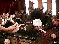 Slave angel is tied on the table at a sex party, whilst the other people are taking advantage of her and laughing. That babe has dildos in both her indecent throat and immodest cunt. The wench is very thankful for this treatment and enjoys having her ass spanked by other horny wench at the same time. Check this out!