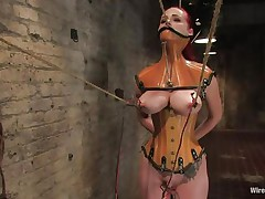 That honey was a very bad milf, that honey dominated and screwed a lot of cuties and now it's time for her to be disciplined. Her cum-hole is beginning to get truly soaked because the brunette domina fastened her, added clamps on her nipps and pulled 'em hard. That honey is immobilized and now has to suffer until that honey will become an obedient slut.