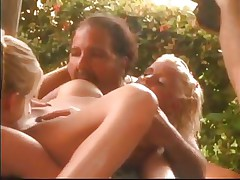 Short fat and hairy, this stud is a slavemaster of porn and shows a few tips and tricks on how to make your cock look harder and how that guy does a great juicy crack lick! Talking about pussy, look at that gorgeous breasty golden-haired that guy gives oral. Not only blondes get oral sex from Ron, that guy even sucks his own dick, can you believe that?