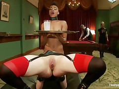Lustful Juliette is licking Nikki`s constricted pussy, during the time that getting fucked very hard. This babe is groaning with fun and receives her love tunnel spanked so hard, during the time that Nikki receives her ass whipped. Nikki is the waitress tonight and has to hold a coaster and be careful not to spill it, even though she is almost cumming!