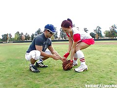 Canadian doxy Kylee craves to learn how to play baseball but the stud has something else in his mind. She in a short time ends up from the baseball field on his couch! Those massive boobs, red hair and juicy lips are amazing and and this stud is lucky to have her. Will that man handle his dong better then this babe plays baseball?