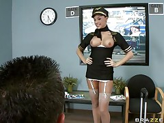 Look at this nice-looking brunette hair as that babe can't live without playing her role as a stewardess. Are her lengthy hot legs, juicy lips and hot bumpers going to get some loads from this happy customer or is this guy going to fuck that nice perfect taut ass with his hard cock making this wench moan with pleasure?