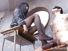 Brunette hair teacher loves treating her bad students with her feet. She got this one bound on a chair, blindfolded him and rubbed his ramrod with her feet. The treatment she gives him will surely make him a more excellent student and perhaps this chab will repay her with a deep hard fuck.