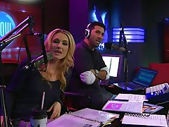 The hosts of Playboy Radio's Morning Show are looking at their guest model who is wearing the dress she'll be wearing to the Playboy Mansion for Halloween. Her head and tits are overspread in fake fruit like oranges, limes, lemons, and more. This babe flashes her meatballs for the hosts and viewers.