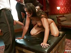 Brunette hair wench Penny is a thrall at a sex party. This chick is made to suck hard cocks, then receives her arse spanked. A large marital-device will solve the situation very well, making her muff so juicy and hot. The guy sticks his dick in her cum-hole from behind, but that babe wants to suck some greater amount and begins engulfing the dildo!