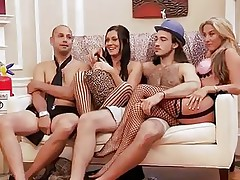These blond and darksome haired babes are with these 2 guys and looks like they are playing some kind of enjoyment games. But in a short time they begin to have some sexual fun! Right after that, they all get into the bathroom and one as well as the other of these 2 lustful babes begin sucking one of the guy's cock!