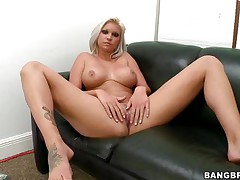 Floozy with short blonde hair, Deadra Dee, is showing her large titties and widening her legs as this playgirl widens her cookie for you too. See her moist cookie as this playgirl is masturbating for pleasure. On a couch, expecting for a 10-Pounder with her naked body this bitch is ready to get screwed hard. And as a rod came, this playgirl started blowjob instantly!