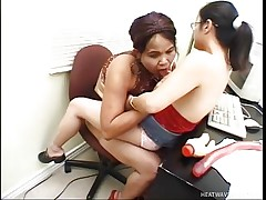 Those 2 brunette midgets are busy in touching their selves during the time that having wicked chats over internet. Suddenly they discovered out that they are chatting with other sitting in the same room. And then these shorty strumpets receive on each other, sucking nipples and pleasing each other with their toys!