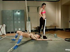 She's blonde fit and likes to be punished so the dominant girls gives her what this babe wants. Her hot body is tied and this babe hangs near the floor having a lot of laundry pliers on her that are inducing a lot of pain. All that ache can't compare with the enjoyment of licking the brunette's bald cunt!