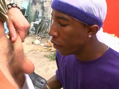 Interracial homosexual scene with white and dark guys having fun