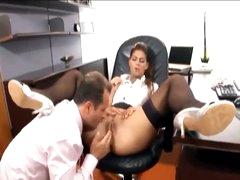 His secretary likes a big boner in her gap