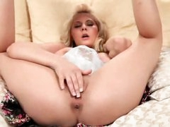 Golden-haired named Madison fingers her twat