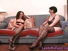 Super slutty lesbian ass licking