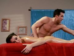 Sassy Charley Follow gets a hot rub down from a hunk