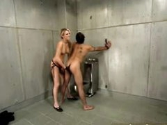 Sexy femdom in jail cell includes ding-dong