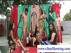 CFNM beauties enjoying males in swing willing to be blowed off