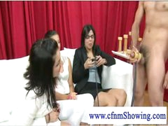 Cfnm ladies loving some knob stroking act