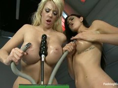 Breasty Courtney Taylor and Kendall Karson love sex machines