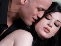 Perverted angel in collar is perfect gal in submission to him