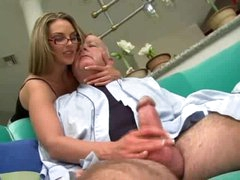 Super hot girl in glasses drilled by corpulent old dude